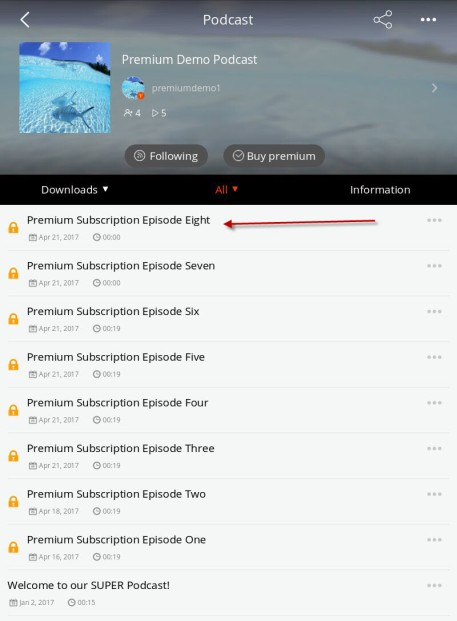 premium episode display in the Podbean app