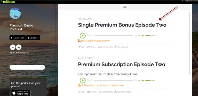 Premium episode display on site