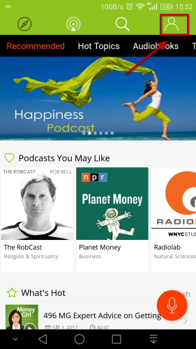 person icon in the home page