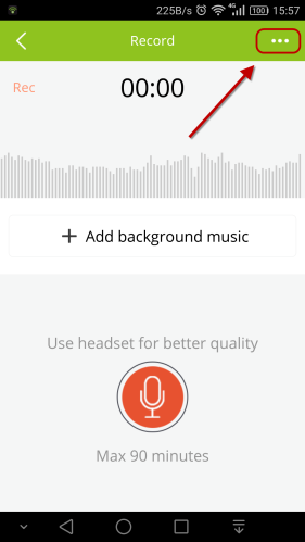 recording page menu android