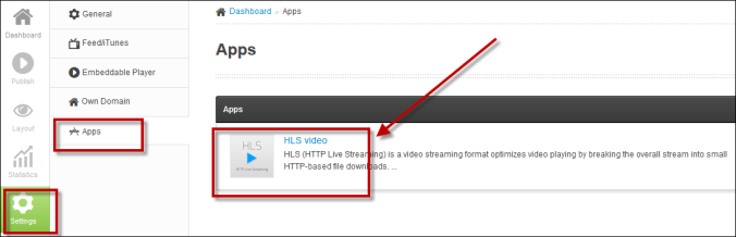 HLS app in dashboard